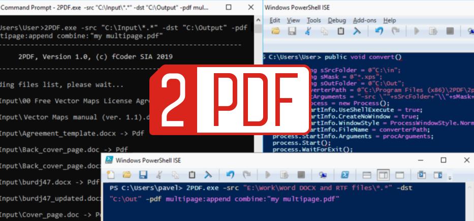 Конвертер командной строки 2PDF конвертирует сразу много файлов