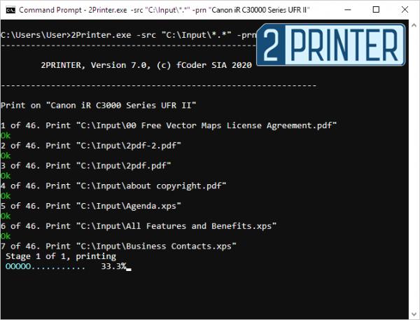 Автоматическая печать PDF из командной строки с 2Printer 7.0